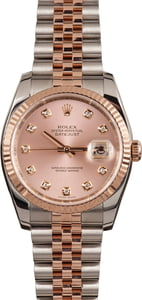 Rolex Two Tone Datejust 116231 Pink Diamond Dial