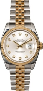 Two Tone Rolex Datejust 116233 Silver Diamond Dial