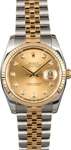 Diamond Rolex Datejust 116233 Champagne Dial