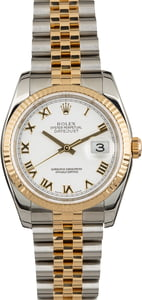 Rolex Two-Tone Datejust 116233 Roman White