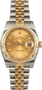 Rolex Datejust 116233 Champagne Dial Luminous Index
