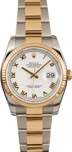 Pre-Owned Rolex Datejust 116233 White Roman Dial Oyster Bracelet