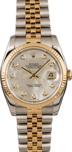 PreOwned Rolex Two Tone Datejust 116233 MOP Diamond Dial