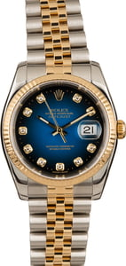 Used Rolex Two Tone Datejust 116233 Blue Vignette Diamond Dial