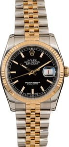 Used Rolex Two Tone Datejust 116233 Black Index Dial