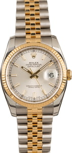 PreOwned Rolex Two Tone Datejust 116233 Silver Dial