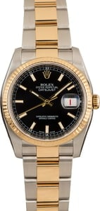 PreOwned Rolex Mens Datejust 116233 Black Index Dial
