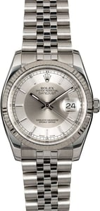 Certified Rolex Datejust 116234 Silver Tuxedo Dial