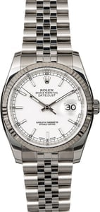 Rolex Datejust 116234 White Luminescent Steel Jubilee