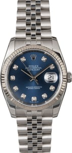 Rolex Datejust 116234 Blue Diamond Dial Steel Jubilee