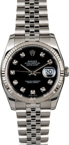 Diamond Rolex Datejust 116234 Black Dial