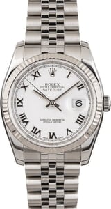 Men's Rolex Datejust 116234 White Roman Dial