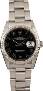 Pre-Owned Rolex Datejust 16234 Black Roman Dial Steel Oyster
