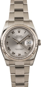 Pre-Owned Rolex Men's Datejust 116234 Rhodium Roman Dial