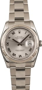 Pre Owned Rolex Steel Datejust 116234 Roman Rhodium Dial