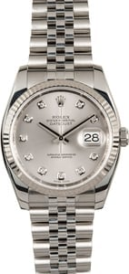 Rolex Datejust 116234 Silver Diamond Dial Steel Jubilee