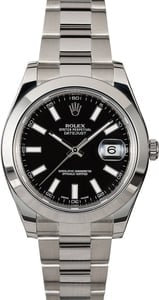 Pre Owned Rolex Datejust 116300 Black Index Dial