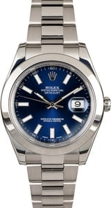 PreOwned Rolex Datejust 116300 Blue Luminous Dial