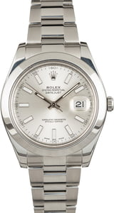 Used Rolex Datejust II Ref 116300 Silver Index Dial