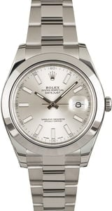 PreOwned Rolex Datejust II Ref 116300 Silver Index Dial