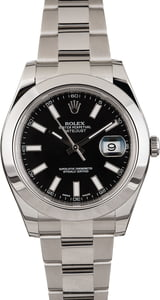 Pre Owned Rolex Datejust 116300 Black Luminous Dial