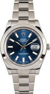 Men's Rolex Datejust 116300 Blue Luminescent Dial