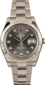 Certified Rolex Datejust 116334 Slate Diamond Dial