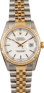 Pre Owned Rolex Datejust 16233 White Index Dial