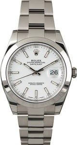 Rolex Datejust 41 Ref 126300 White Index Dial