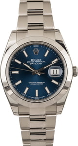 Pre-Owned Rolex Datejust 126300 Blue Dial Oyster Bracelet