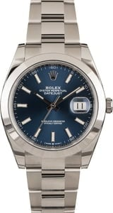 Pre-Owned Rolex Datejust 126300 Blue Luminous Index Dial