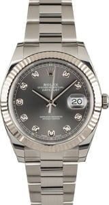PreOwned Rolex Datejust 41 Ref 126334 Dark Rhodium Diamond Dial