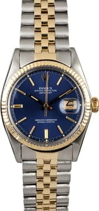 PreOwned Rolex Datejust 1601 Blue Index Dial