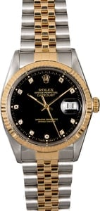Men's Rolex Datejust 16013 Black Diamond Dial