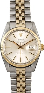 Vintage Rolex Datejust 16013 Silver Index Dial