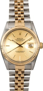 Rolex Datejust 16013 Two Tone Champagne Tapestry Dial