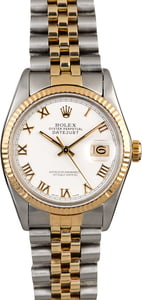 Certified Rolex Datejust 16013 White Roman Dial