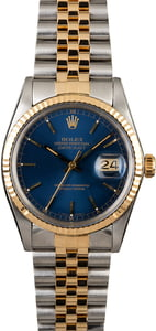 PreOwned Rolex Datejust 16013 Two Tone Blue Dial