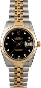 PreOwned Rolex Datejust 16013 Black Diamond Dial