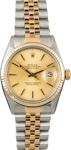 PreOwned Rolex Two Tone Datejust 16013 Champagne Dial
