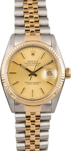 PreOwned Rolex Datejust Two Tone 16013 Champagne Dial