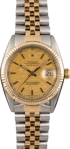 Rolex Two Tone Datejust Champagne Linen Dial 16013