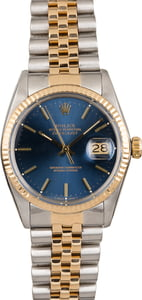 PreOwned Mens Rolex Datejust 16013 Blue Index Dial