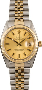 Pre-Owned Rolex Datejust 16013 Champagne Dial Fluted Bezel