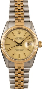 Used Champagne Dial Rolex Datejust 16013 Fluted Bezel