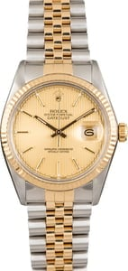 Pre Owned Rolex Datejust 16013 Champagne Tapestry Index Dial