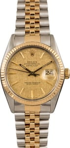 Used Rolex Datejust 16013 Champagne Linen Dial