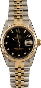 Pre-Owned Rolex 16013 Datejust Black Diamond Dial