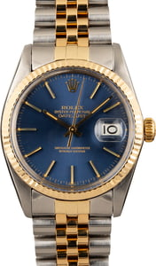 PreOwned Rolex Two Tone Datejust 16013 Blue Index Dial