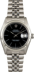 Rolex Datejust 16014 Black Index Dial Jubilee Band